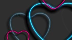 Animação video abstrata brilhante dos corações de néon azuis e roxos ilustração royalty free