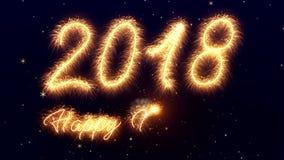 Animação video do chuveirinho dos números 2018 - ano novo feliz ilustração stock