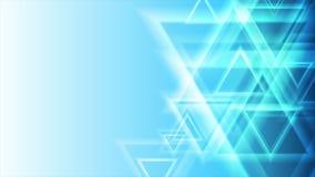 Animação video geométrica dos triângulos azuis brilhantes do sumário ilustração stock
