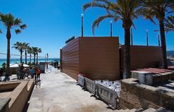 Anima beach bar next to bicycle route Stock Photography