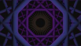 Anima??o abstrata do t?nel geom?trico sem emenda de roda animation Espiral de roda modelada geom?trica no preto ilustração stock