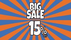 Anima??o grande da venda 15 por cento de texto da venda colocado nas listras sunburst que gerenciem o fundo com cor alaranjada e
