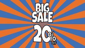 Anima??o grande da venda 20 por cento de texto da venda colocado nas listras sunburst que gerenciem o fundo com cor alaranjada e