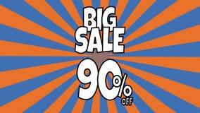 Anima??o grande da venda 90 por cento de texto da venda colocado nas listras sunburst que gerenciem o fundo com cor alaranjada e