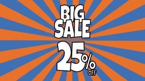 Anima??o grande da venda 25 por cento de texto da venda colocado nas listras sunburst que gerenciem o fundo com cor alaranjada e