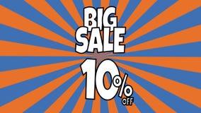 Anima??o grande da venda 10 por cento de texto da venda colocado nas listras sunburst que gerenciem o fundo com cor alaranjada e