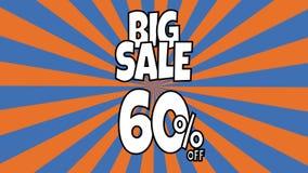 Anima??o grande da venda 5 por cento de texto da venda colocado nas listras sunburst que gerenciem o fundo com cor alaranjada e a