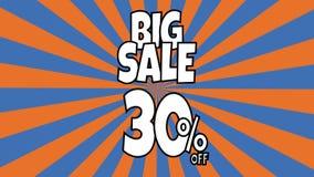 Anima??o grande da venda texto da venda 30percent colocado nas listras sunburst que gerenciem o fundo com cor alaranjada e azul D
