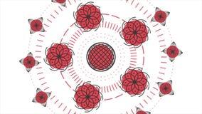 Animación abstracta con diversas figuras que se mueven en un círculo stock de ilustración