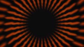 Animación abstracta de hipnotizar el túnel rayado negro y anaranjado en el fondo negro animaci?n Animaci?n colorida ilustración del vector