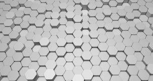 Animación abstracta del fondo 3d bajo la forma de formas del hexágono en colores brillantes stock de ilustración