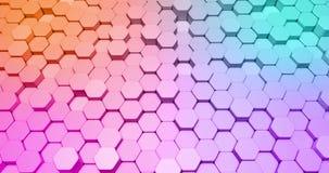 Animación abstracta del fondo 3d bajo la forma de formas del hexágono en colores brillantes ilustración del vector