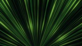 Animación abstracta del movimiento de neón verde colorido igual de los rayos en el túnel de neón Abstracción colorida ilustración del vector