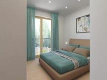 Animación arquitectónica de un interior del dormitorio libre illustration