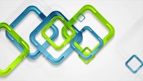 Animación azul y verde vibrante del vídeo de los cuadrados