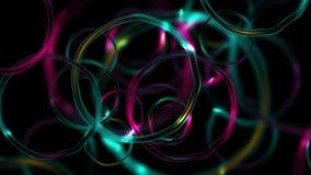 Animación brillante abstracta colorida del vídeo de los anillos que brilla intensamente almacen de metraje de vídeo