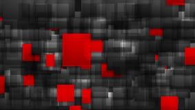 Animación brillante del vídeo de los cuadrados de la tecnología roja y negra