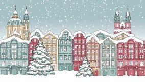 Animación colocada de casas nevadas dibujadas mano almacen de video