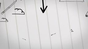 Animación coloreada del plan empresarial dibujada dentro del cuaderno