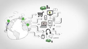 Animación coloreada que muestra diversos aspectos del negocio libre illustration