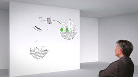 Animación coloreada que muestra el sitio 3d e influencias y la observación globales del hombre metrajes