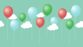 Animación colorida de los balones de aire de la historieta con las nubes libre illustration