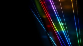 Animación colorida del vídeo de los rayos laser del neón que brilla intensamente retro