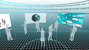 Animación con los hologramas de hombres de negocios