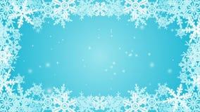 Animación congelada del marco del copo de nieve - azul