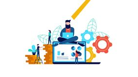 Animación creativa del hombre del trabajo en equipo del negocio de Internet