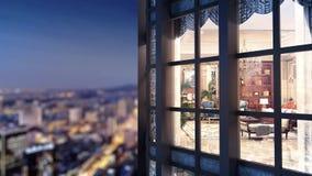 animación 3d de la ciudad de desatención de la noche de la ventana del apartamento stock de ilustración