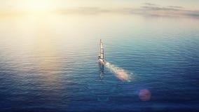 animación 3d de la navegación del yate en el océano almacen de video