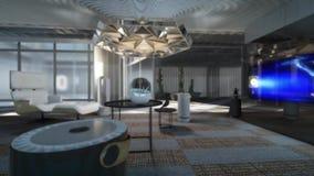 animación 3d de la sala de estar futura que se enciende para arriba