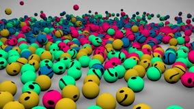 animación 3d de la textura descendente del modelo del fondo de las bolas coloridas del emoticon en medios concepto social stock de ilustración