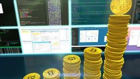 animación 3D de los bitcoins de la explotación minera con la cámara móvil stock de ilustración