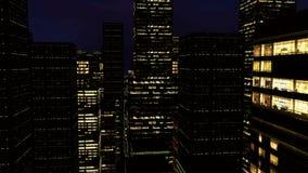 animación 3D de rascacielos en la noche libre illustration