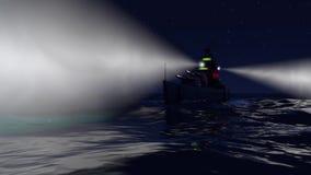 animación 3d de un acorazado en el océano abierto por noche ilustración del vector