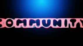animación 3D de una palabra COMUNIDAD que revela de una red abstracta