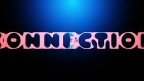 animación 3D de una palabra CONEXIÓN que revela de una red abstracta