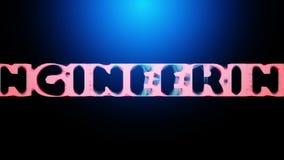 animación 3D de una palabra INGENIERÍA que revela de una red abstracta