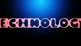 animación 3D de una palabra TECNOLOGÍA que revela de una red abstracta