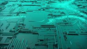 animación 3d de una placa de circuito futurista libre illustration