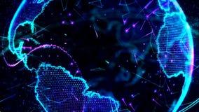 animación 3d de una red cada vez mayor a través del mundo - versión azul