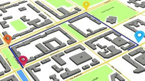 animación 3d de una ruta con los marcadores coloreados en un mapa abstracto de la ciudad