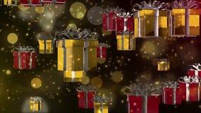 animación 3D del actual regalo de la caja para el fondo del día de fiesta stock de ilustración