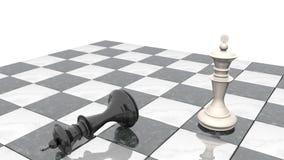 animación 3d: Dos figuras del ajedrez en el terreno de juego El rey blanco es un ganador y las mentiras de un negro del perdedor  metrajes