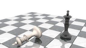 animación 3d: Dos figuras del ajedrez en el terreno de juego El rey negro es un ganador y las mentiras blancas de un perdedor pro metrajes