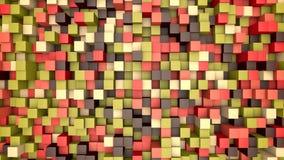 animación 3d: fondo abstracto del mosaico, bloques de mudanza coloreados Caída, otoño metrajes