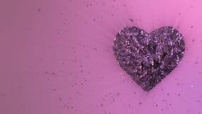 animación 3d: Fondo animado colocado extracto: Pedazos del corazón púrpura y cubos formados luminosos giratorios del giro violeta ilustración del vector