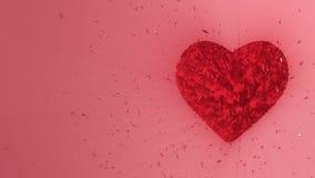 animación 3d: Fondo animado colocado extracto: Pedazos y cubos formados corazón de rubíes luminoso giratorios del giro rojo con e ilustración del vector